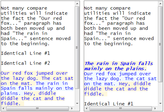 Compare text differences new algorithm sentence moved up down paragraph